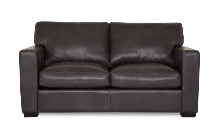 contemporary black leather loveseat with espresso wood finish
