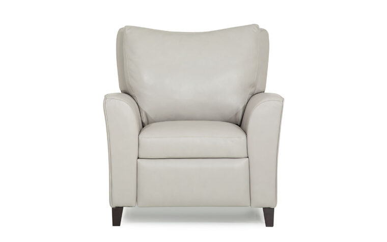 transitional india pushback chair that reclines shown in a white leather