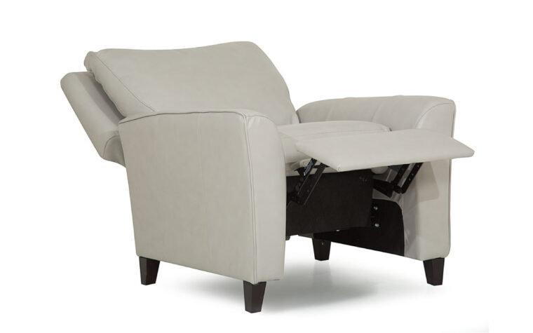 side angle of reclining transitional india pushback chair that reclines shown in a white leather