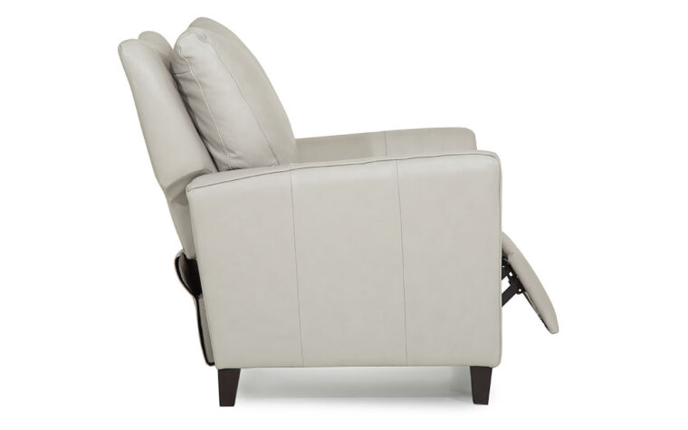 side view of transitional india pushback chair that reclines shown in a white leather