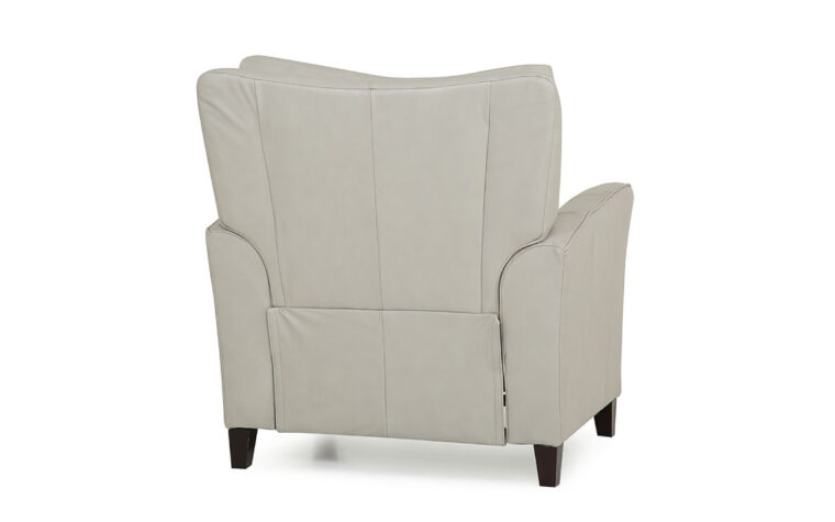 back view of transitional india pushback chair that reclines shown in a white leather