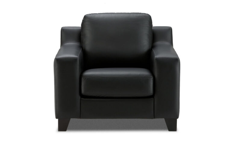 front view of contemporary reed chair shown in black leather with espersso wood finish