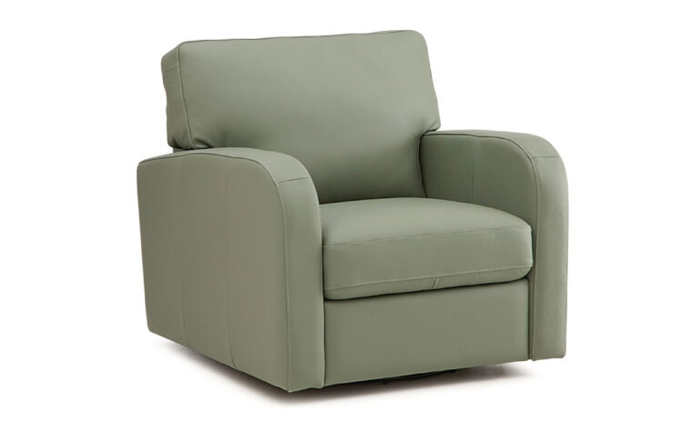 side angle of westside chair from palliser is a contemporary chair in a green fabric