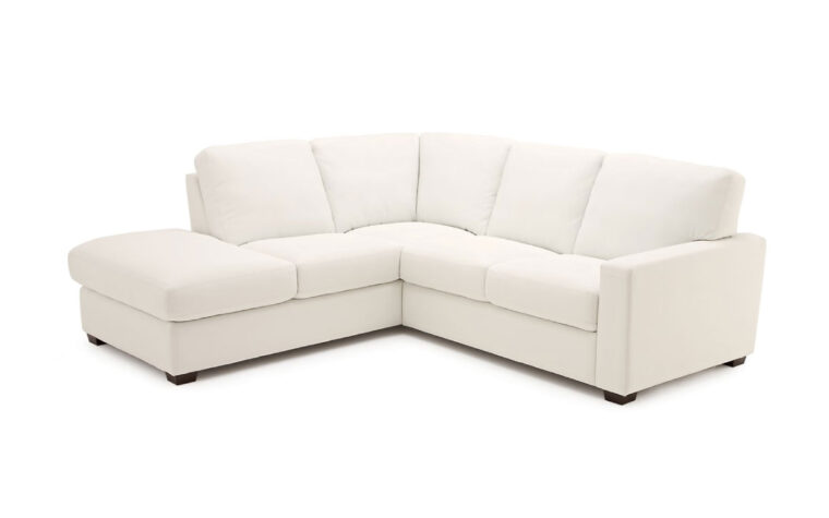 transitional white leather sectional called westend sectional with espersso wood finish