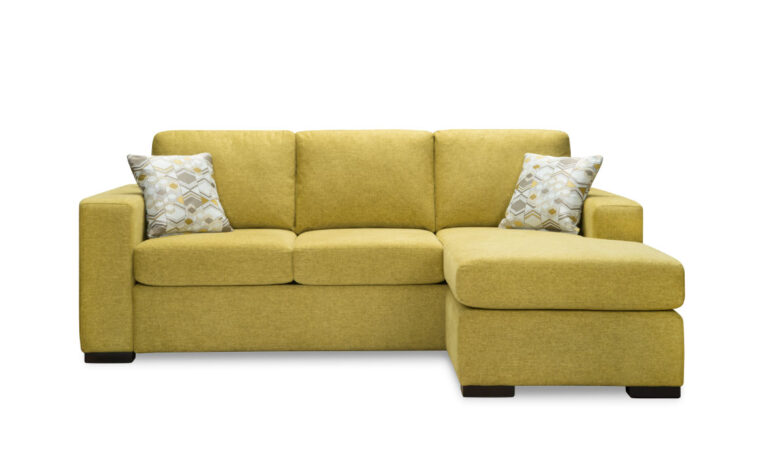contemporary sofa with chaise shown in a lime green fabric with espresso wood finish