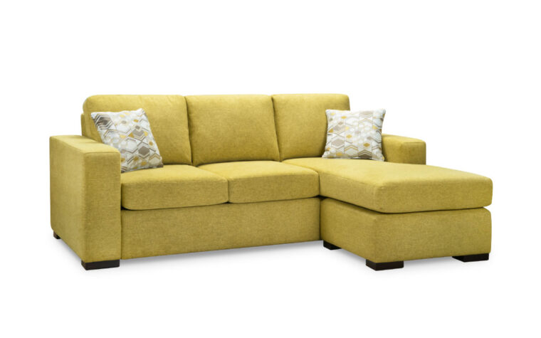 metra sofa with chaise is a contemporary sofa with chaise shown on an angle with lime green fabric and espresso wood finish