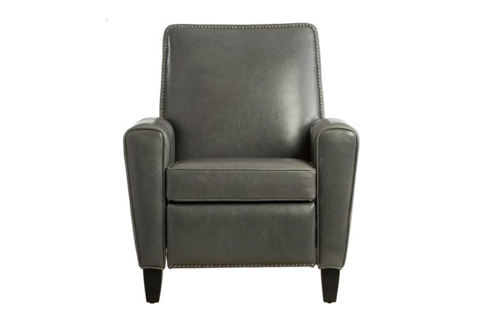 15430 deluxe recliner in charcoal leather with nailhead trim