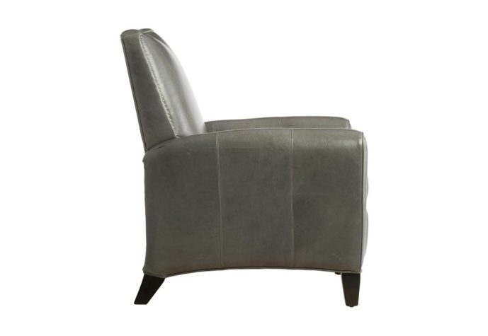 side view of 15430 deluxe recliner in charcoal leather with nailhead trims