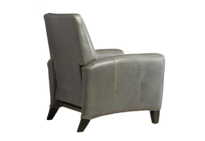 rear view of charcoal leather recliner with metal nailhead trims