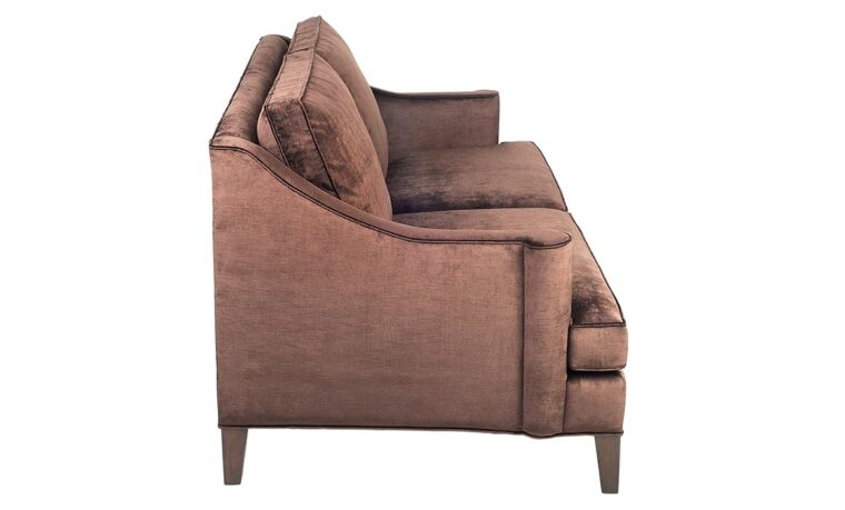 side view of traditional 14105 sofa shown in brown velvet fabric with espresso wood finish