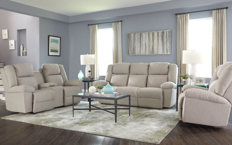 This transitional power reclining sofa is built to last