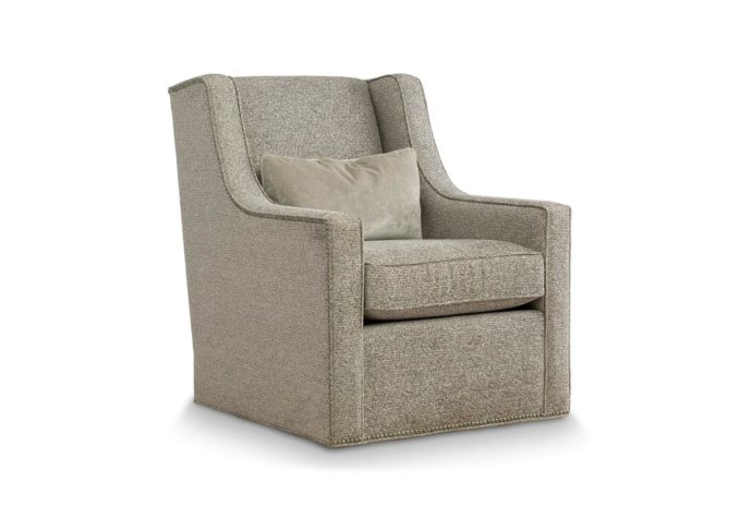 front angle of 18875 swivel chair in gray fabric with nailhead trim