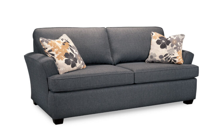 paige hide-a-bed is available as a loveseat as well and is shown in a charcoal fabric with yellow and grey pillows