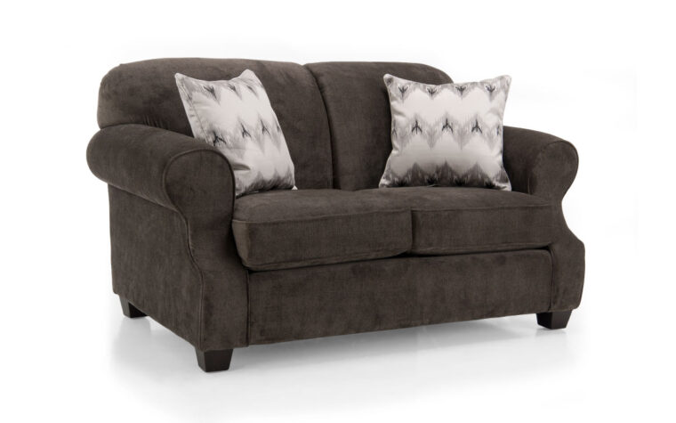 2000 loveseat is shown in a dark brown fabric with white chevron pillows and is a traditional loveseat