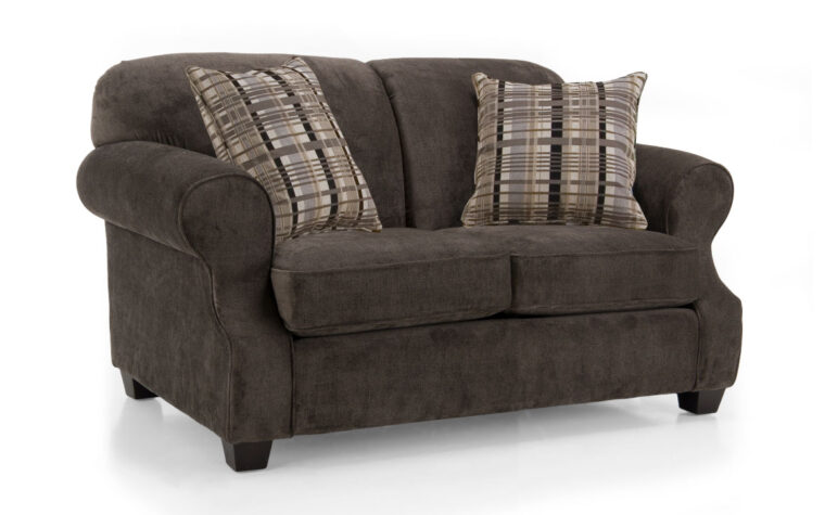 traditional loveseat with dark brown fabric and plaid pillows