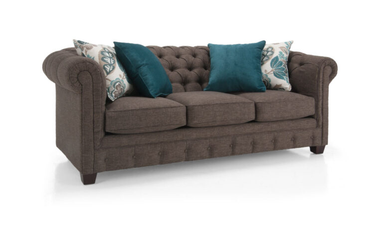 2230 sofa is a traditional sofa with a tufted back and dark wood finish on the legs and comes with multiple toss cushions