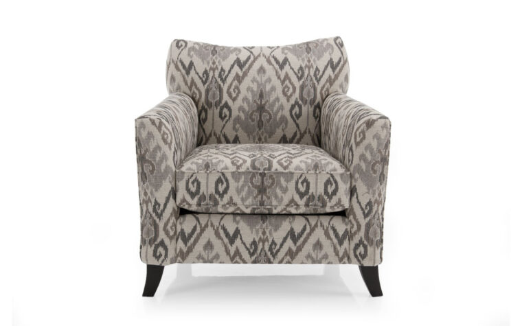 2242 chair is a contemporary chair in neutral fabric with curved arms and legs
