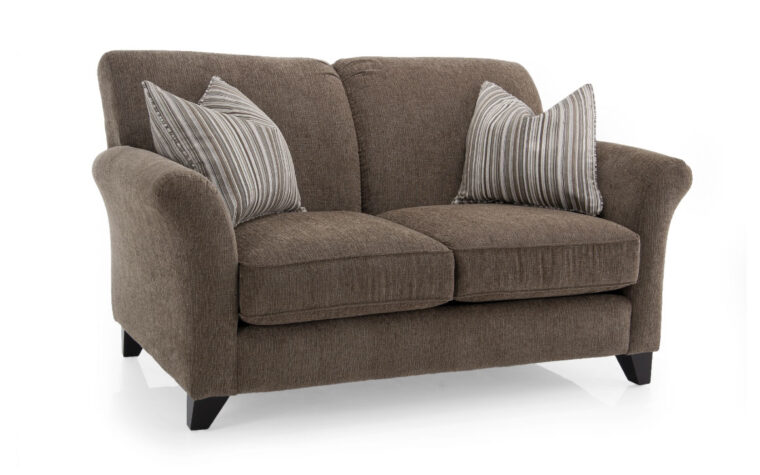 2263 loveseat is a traditional loveseat with curved arms and shown in a dark fabric with contrasting pillows