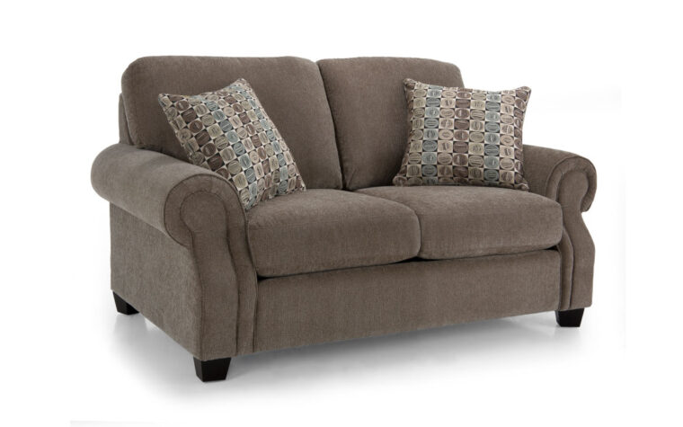 2279 loveseat is a traditional loveseat design in grey fabric with fun accent pillows