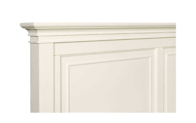 The Ashby Panel bed comes in different sizes and finished in a Patina White finish