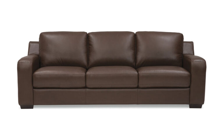 flex sofa is a contemporary sofa in brown leather with espresso wood finish