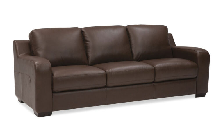 front angle of flex sofa is a contemporary sofa in brown leather with espresso wood finish
