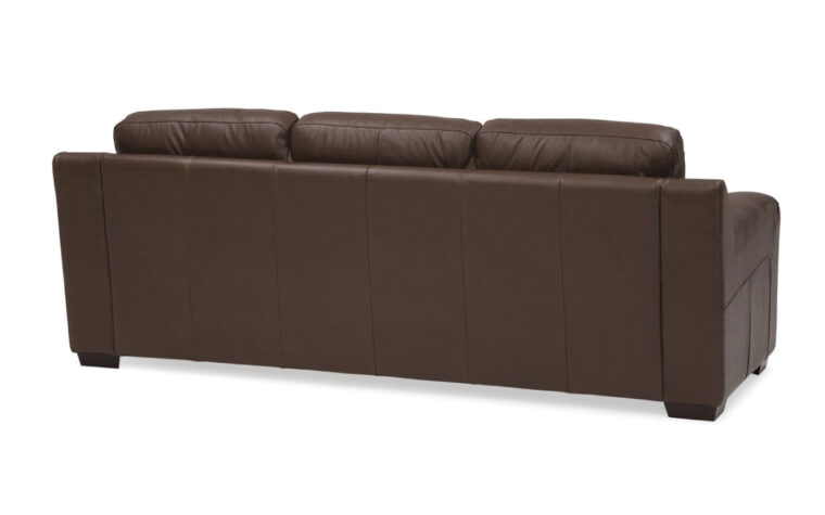 back view of flex sofa is a contemporary sofa in brown leather with espresso wood finish
