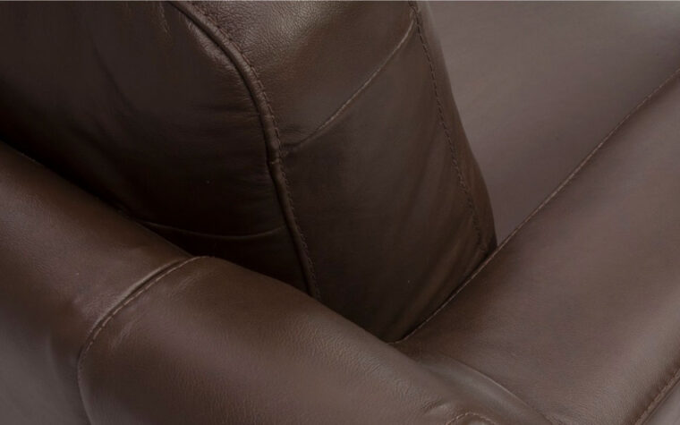 pillow details of flex sofa is a contemporary sofa in brown leather with espresso wood finish