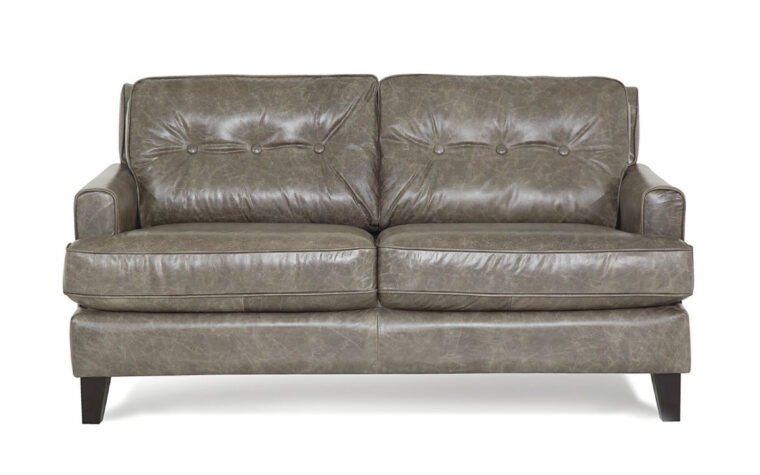 barbara loveseat is a beautiful grey leather mid-century modern loveseat with button tufting