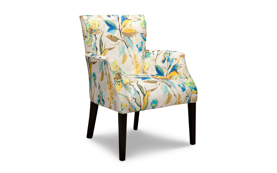 courtney chair is a traditional accent chair with bright colored patterend fabric and espresso wood finish