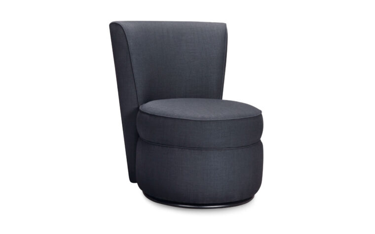 hailey chair is a contemporary chair in a charcoal fabric that features curved lines throughout the design