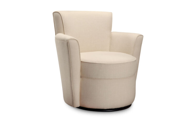 hannah swivel chair is a contemporary swivel chair in a light off-white fabric with a swivel base and round edges
