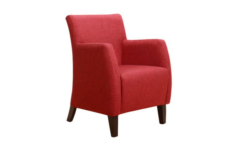 bella chair is a contemporary accent chair in a red fabric with espresso wood finish