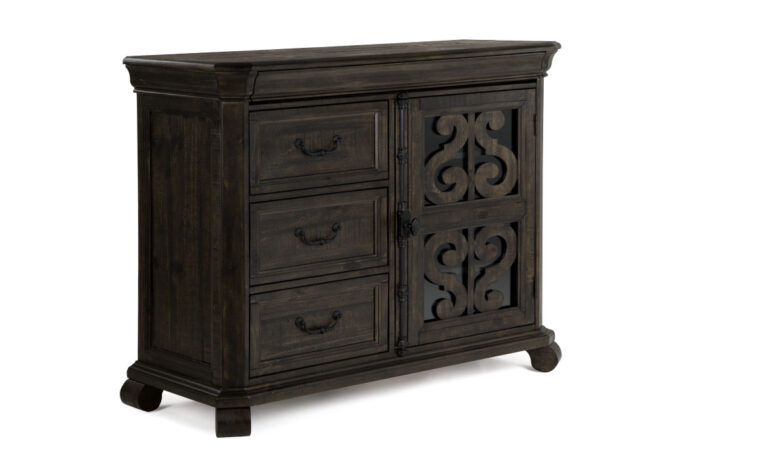 The Bellamy Media Chest is warm and inviting and has a peppercorn finish