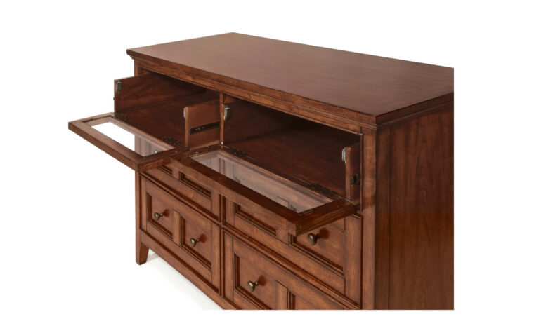 The Harrison Media Chest has a classic design and crafted from cherry veneer