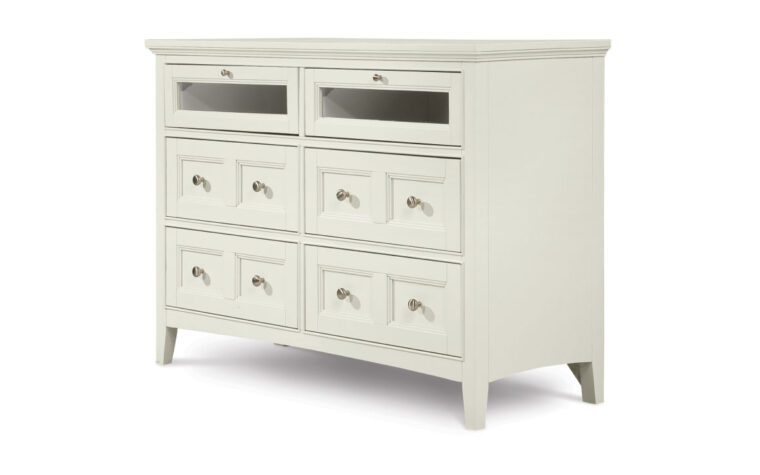 The Kentwood Media Chest has a classic design and features a painted creamy white finish