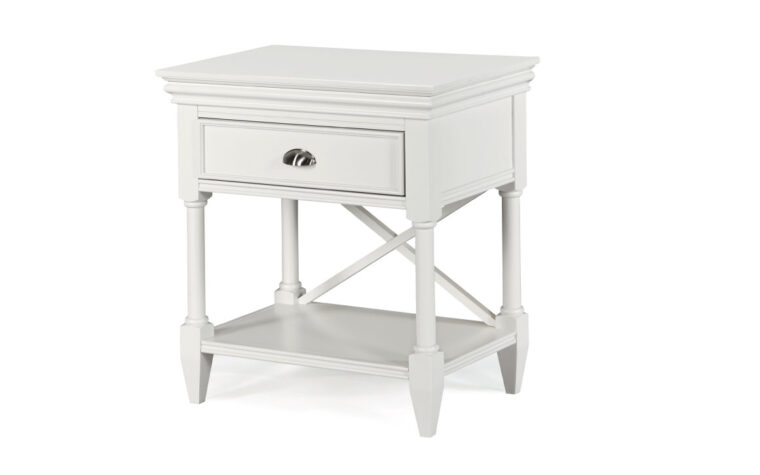 The Kasey Drawer Nightstand has a crisp and clean design with a white finish