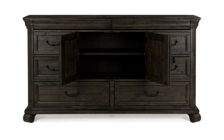 The Bellamy Drawer Dresser is warm and inviting and has a peppercorn finish