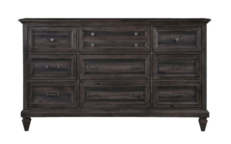 The Calistoga Drawer Dresser has a distressed charcoal finish and accented with brushed pewter hardware