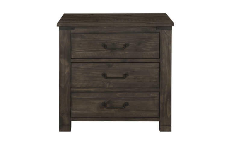 The Abington Drawer Nightstand has a transitional design and finished in a weather charcoal finish