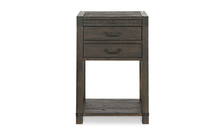 The Abington Open Nightstand has a transitional design and finished in a weather charcoal finish