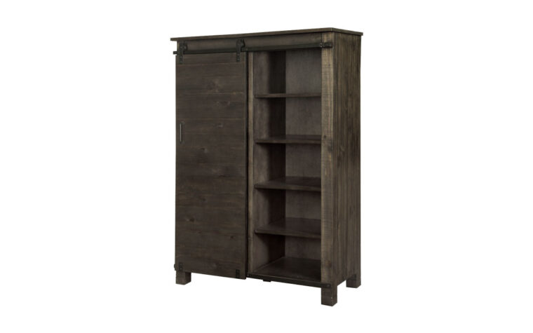 The Abington Door Chest has a transitional design and finished in a weather charcoal finish