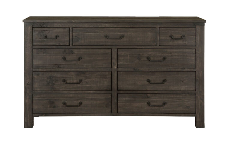 The Abington Drawer Dresser has a transitional design and finished in a weather charcoal finish