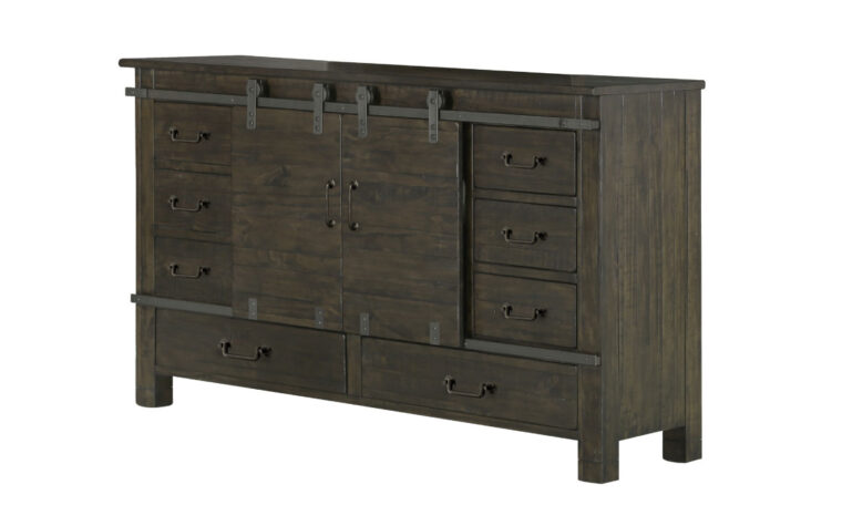 The Abington Sliding Door Dresser has a transitional design and finished in a weather charcoal finish