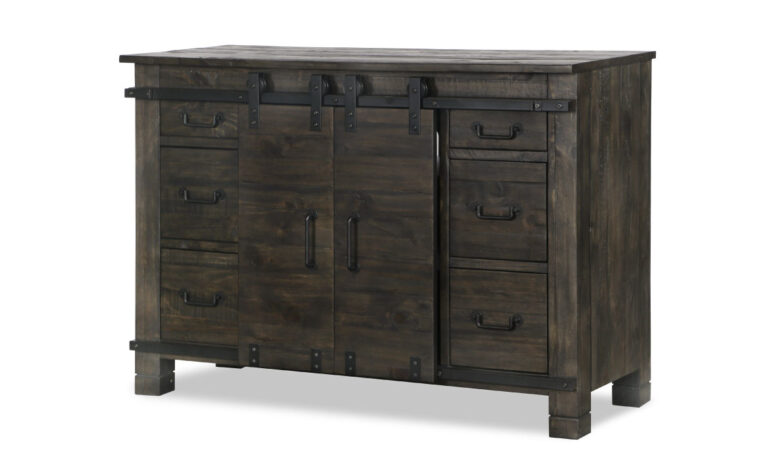 The Abington Sliding Media Chest has a transitional design and finished in a weather charcoal finish