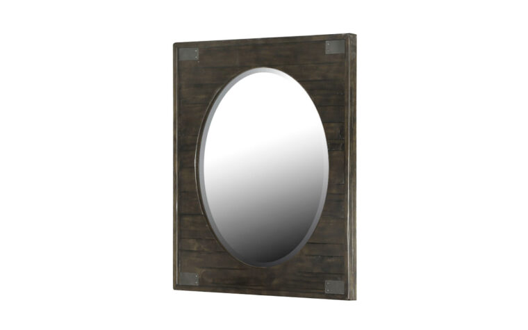 The Abington Sliding Portrait Oval Mirror has a transitional design and finished in a weather charcoal finish