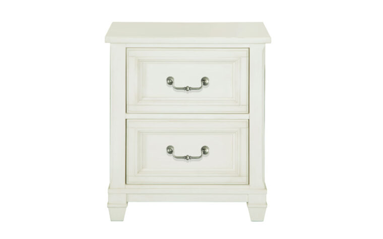 The Brookfield Drawer Nightstand is done in a cotton white finish with a grey wash over it.