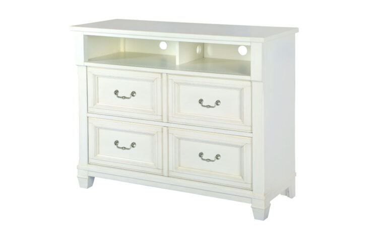 The Brookfield Media Chest is done in a cotton white finish with a grey wash over it.