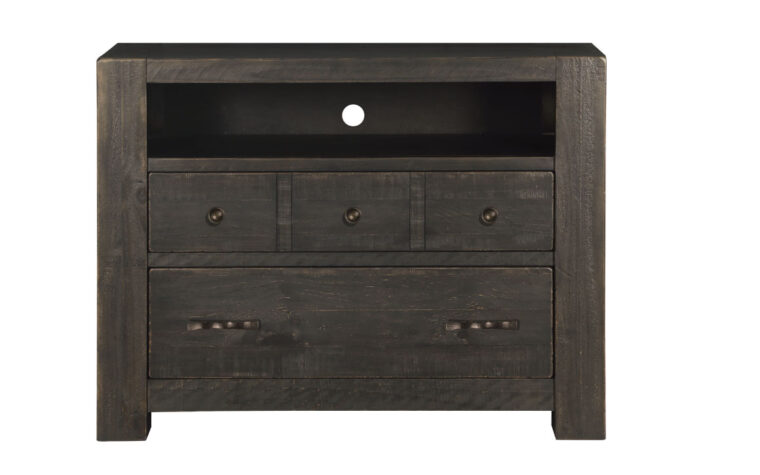 The Easton Media Chest is a rustic design that has a dark chocolate finish and accented with hammered bronze hardware