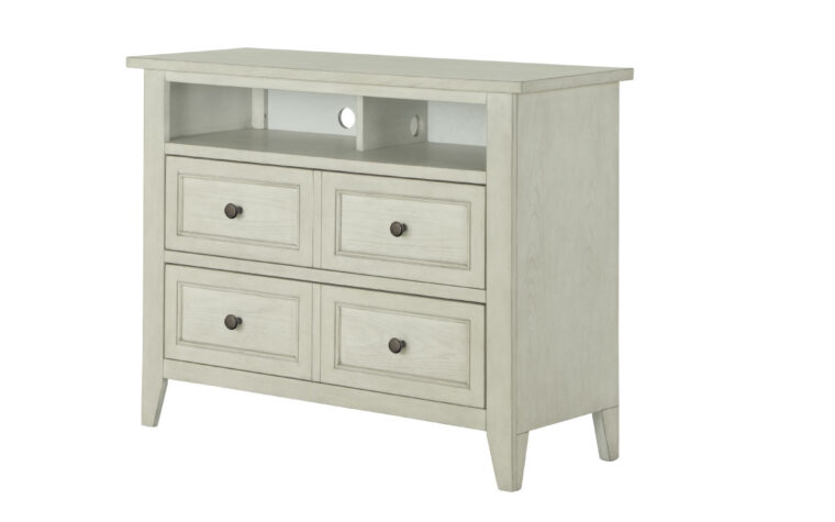 The Raelynn Media Chest has a weathered white finish and accented with a weathered bronze hardware